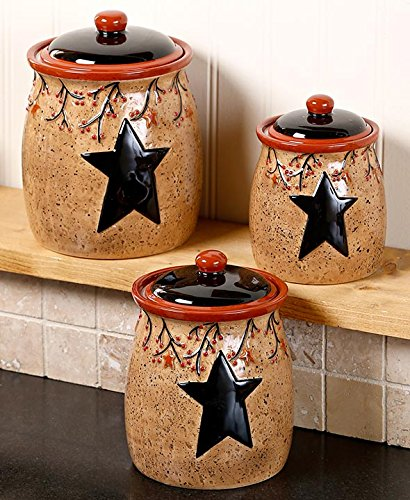 Set of 3 Rustic Star & Berry Canisters
