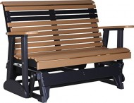 Outdoor Polywood 4 Foot Porch Glider – Plain Rollback Design *CEDAR/BLACK* Color