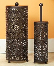 2 Pc Chocolate Brown Toilet Brush & Holder Set Bathroom Organizing Decor