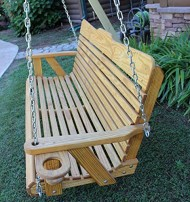 Handmade Amish Heavy Duty 800 Lb 4ft. Porch Swing With Cupholders – Cedar Stain – Made in USA