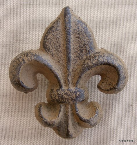 Cast Iron Drawer Handle Pull Fleur De Lis Brown Knob