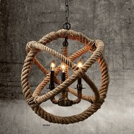 Perfectshow 3-lights Hemp Rope Ball Chandelier Retro Country Style Hanging Island Pendant Light Fixture(35cm)