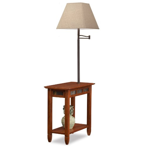 Leick Rustic Slate Tile Chairside Swing Arm Lamp Table