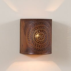 Chisel Sconce Light in Rustic Tin, wired