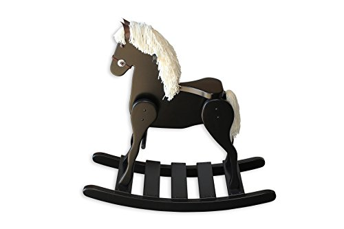 FireSkape Medium Deluxe Amish Crafted Solid Maple Black Finished Rocking Horse with White Mane