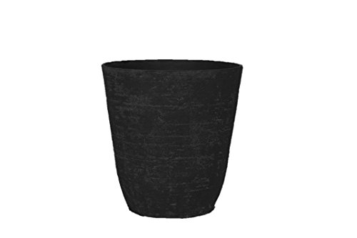 Stone Light Antique AT Series Cast Stone Planter, 20 by 20.5″, Black