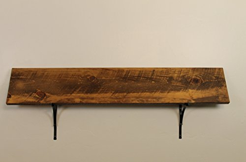 Style 3: Rustic, Wood Shelf, Pine, 72″ x 10″ x 1″, with Brackets, Dishes, Books