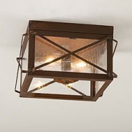 Double Ceiling Light with Folded Bars in Rustic Tin