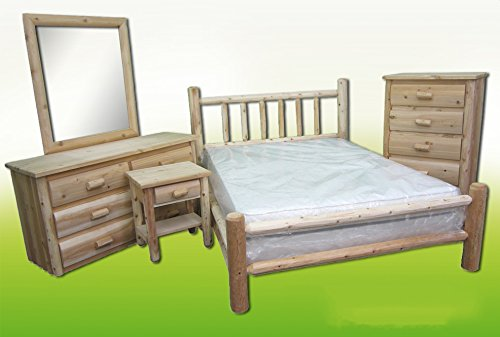 Midwest Log Furniture – Premium Log Bedroom Suite – Twin – 5pc