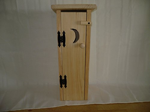 Pine Outhouse Toliet Paper Holder. This Unfinished Outhouse Holds 4 Rolls of Toliet Paper. Adds a Rustic Charm to Your Bathroom Decor While Hiding Those Rolls of Toliet Paper. Measures: 7″ X 7″ X 20″ Tall. With It Being Unfinished You Can Decorate It Any Way You Want to Fit Your Bathroom Decor. It Also Looks Great Unfinished!