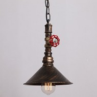 UNITARY BRAND Rustic Copper Metal Shade Water Pipe Pendant Light Max 40W With 1 Light Painted Finish