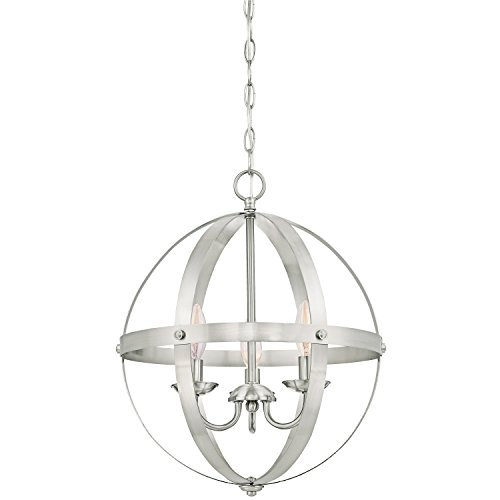 Westinghouse 6341900 Stella Mira Three-Light Pendant, Brushed Nickel Finish with Highlights
