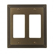 Amerelle 84RRRB Steps Cast Metal Double Rocker/GFCI Wallplate, Rustic Brass