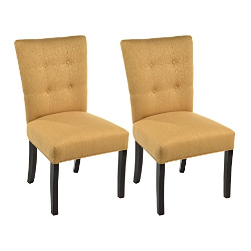 Sole Designs La Mode Collection Fanback Dining Chair, 4 Button Stitched Side Chair, Fawn (Set of 2)