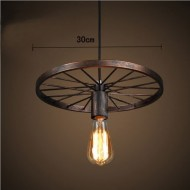 WinSoon New Wheel Metal Shade Ceiling Vintage Retro Chandelier Fitting Pendant Art Light One Head