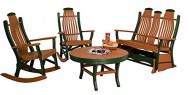 Poly Lumber Patio Furniture Set with 1 Snack Table, 1 Double Glider, & 2 Rocking Chairs in Weathered Wood & Black – Amish Made in USA