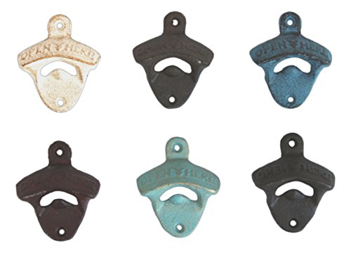 MayRich Set of 6 Assorted Wall Mountable Rustic Cast Iron Bottle Openers