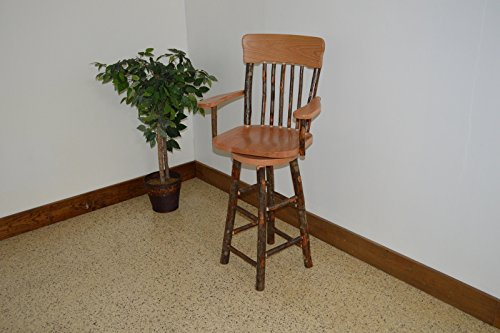 Rustic Hickory & Oak Swivel Panel Back Barstool *Natural Finish* Amish Made USA