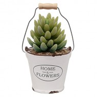 Country Rustic White Ceramic Bucket Pail Design Succulent Planter / Mini Flower Pot / Pencil Holder