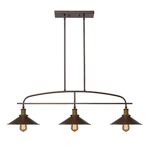 YOBO Lighting Antique Kitchen Island Pendant, 3-light Metal Ceiling Chandelier