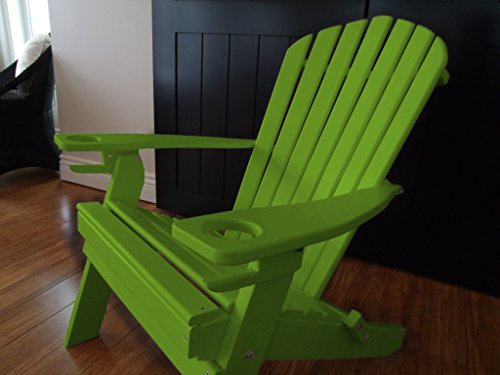 NEW DELUXE 7 SLAT TROICAL LIME Poly Lumber Wood Folding Adirondack Chair WITH OTTOMAN- Amish Made USA