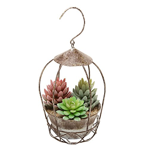 Rustic Style Freestanding / Hanging Brown Metal Flower Plant Pot Rack / Display Planter – MyGift