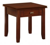 Simpli Home Artisan End Table, Medium Auburn Brown