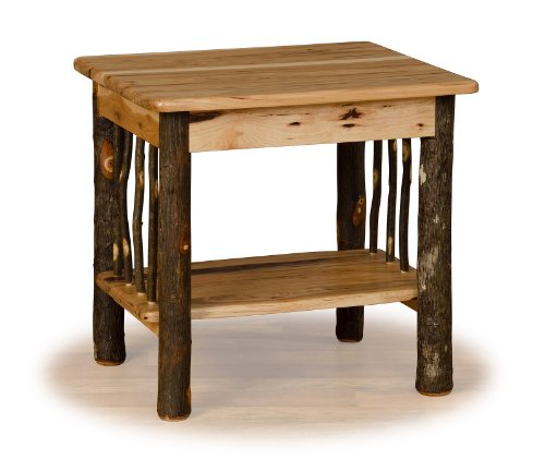 Rustic Hickory End Table- OAK TOP – Amish Made