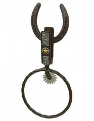 Rustic Western Horseshoe and Spur Bathroom Towel Ring