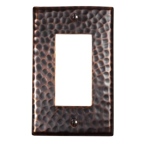 The Copper Factory CF121AN Solid Hammered Copper Single GFCI Plate, Antique Copper Finish