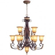Livex Lighting 8579-63 Villa Verona 9 Light Two Tier (6+3) Verona Bronze Finish Flush Mount with Aged Gold Leaf Accents and Rustic Art Glass