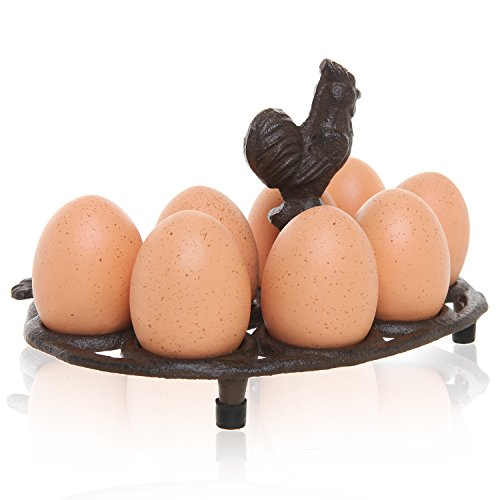Country Rustic Rooster Design Brown Cast Iron 8 Egg Display Rack / Tabletop Egg Stand with Top Handle