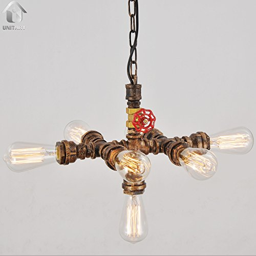 UNITARY BRAND Rustic Copper Water Pipe Pendant Light Max 280W With 7 Lights Painted Finish