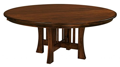 Amish Arts and Crafts 54″ Round Solid Maple Wood Dining Table