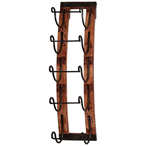5-bottle Rustic Vineyard Aged Wood Slates Hanging Wine Rack