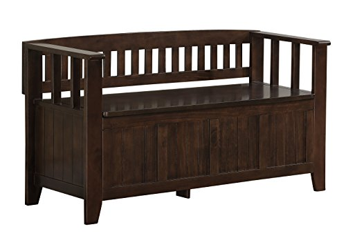 Simpli Home Acadian Entryway Bench, Rich Tobacco Brown