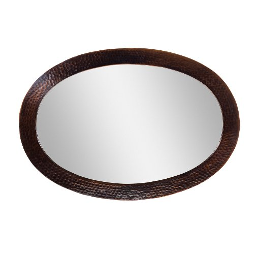 The Copper Factory CF137AN Solid Hammered Copper Framed Oval Mirror, Antique Copper