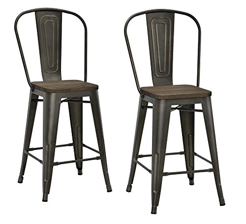 DHP Luxor Metal Counter Stool with Wood Seat (Set of 2), 24″, Antique Copper