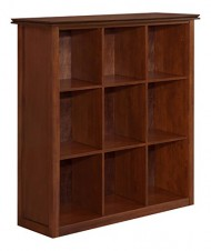 Simpli Home Artisan Medium 9 Cube Storage Bookcase, Medium Auburn Brown
