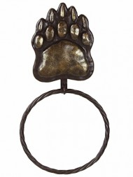 Rustic Bear Paw Tracks Metal Towel Ring – Lodge Decor