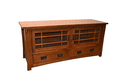 Crafters U0026 Weavers Mission Style Solid Oak Tv Stand Entertainment Console