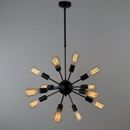 UNITARY BRAND Black Vintage Antique Metal Hanging Ceiling Chandelier With 12 Lights Painted Finish