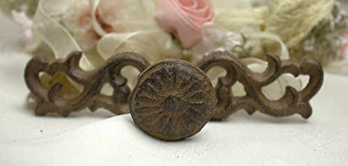 Cast Iron Drawer Handle Pull Fleur Scroll face plate Brown Knob 32