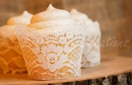 Set of 12 – Real Ivory Lace Cupcake Wrappers / Liners – wedding, rustic, vintage, princess, tea party, birthday, bridal shower, baby, bachelorette