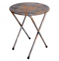 NACH th-F5334 Round Rustic Bistro Table, Blue/Grey