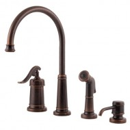 Pfister T26-4YPU Ashfield Rustic Bronze 4 Hole Kitchen Faucet