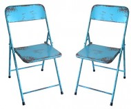 NACH Rustic Bistro Chair (Set of 2), Blue