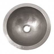 The Copper Factory CF147SN Solid Hand Hammered Copper Small Round Self Rimming Lavatory Sink, Satin Nickel