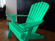 NEW DELUXE 7 SLAT ARUBA BLUE Poly Lumber Wood Folding Adirondack Chair with 2 CUP HOLDERS- Amish Made USA
