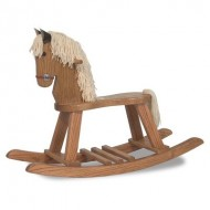FireSkape Amish Crafted Solid Oak Natural Finished Pony Rocking Horse with White Mane